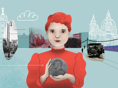 Scene from collage animation about Maria Skłodowska-Curie herstory animated animacja animation video explainer explainer video drawing design illustration art dinksy graphic collage animation