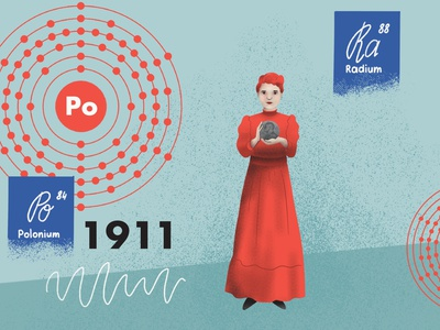 Scene from collage animation about Maria Skłodowska-Curie typography illustrations video explainer explainer video design drawing illustration art dinksy graphic