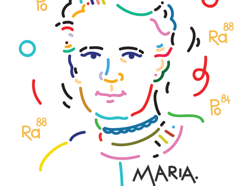 Marie: an all-time great woman womenpower girlpower science woman muzeum museum branding icon marker drawing dinksy illustrations maria curie-sklodowska maria sklodowska-curie illustration graphic art