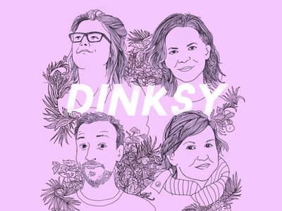 DINKSY self-portraits typography design illustrations drawing illustration dinksy womanpower girlpower pink graphic art portrait art self-portraits