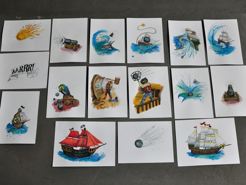 Watercolor pictures for game sea game pictures handmade design illustrations drawing illustration dinksy graphic art watercolour