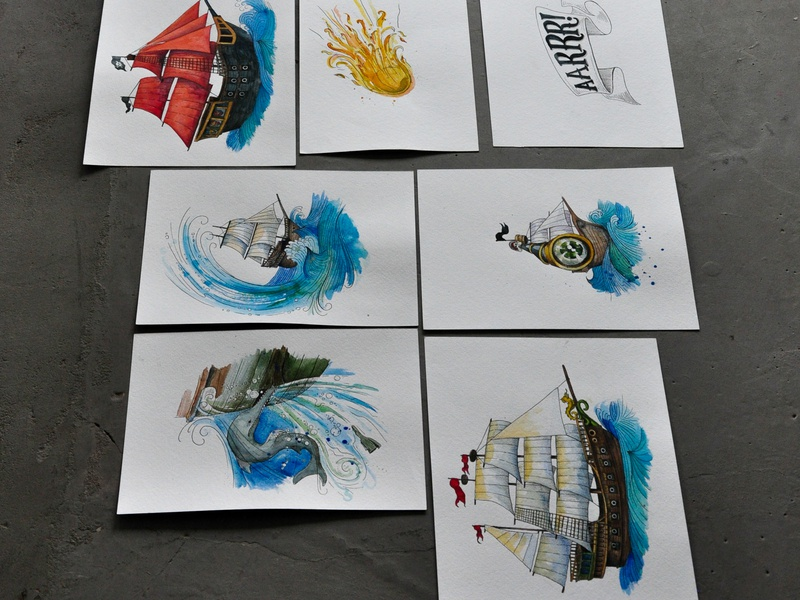 """Card Game """"Aarrr!"""" watercolour typography design illustrations dinksy graphic art illustration art kids art kids illustration kids toy card game"""