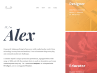Personal Website front end front page wordpress typogaphy website builder website