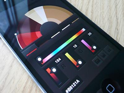 Swatch Palette App app icon ios interface dark gradient colour color swatch palette tabs wheel