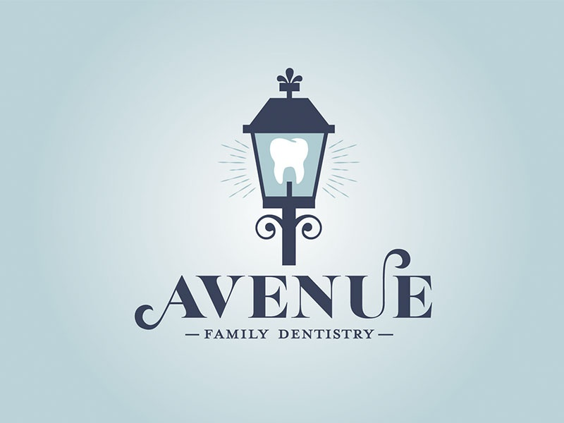 Avenue Family Dentistry Logo shine lantern new orleans tooth lettering dentist logo