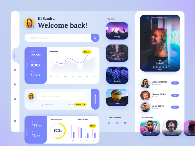 Profile dashboard XD freebie cardsui uiux freexd profile analytics statistic stats dashboard xd ui kit freebie