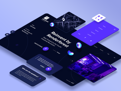 """Reinvent"" digital conference webpage uiux websiteui onepage darkui dark landing singlepage conference isometric perspective"