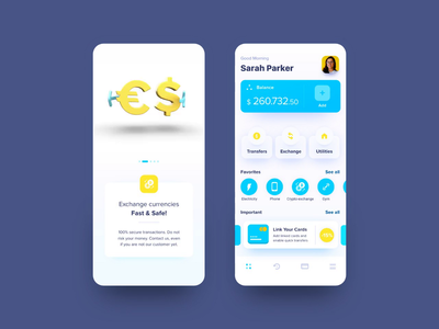 Wallet App app uiux cards utilities balance euros dollar sign iosapp crypto exchange cryptocurrency currency exchange currency