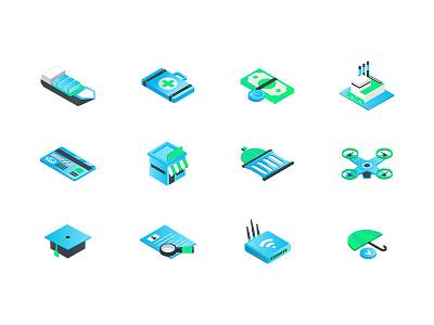 Isometric icon set representing 12 industries gradient icon isometric illustration isometric design icon set set icons isometric