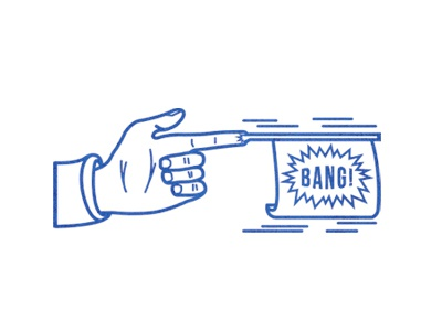 Fingun fingun illustration icon blue hand bang gun logo