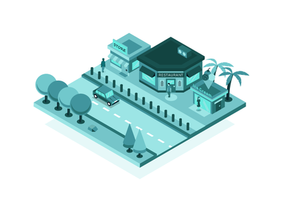 Isometric Store Online Visibility phone 3d building city map illustration isometric