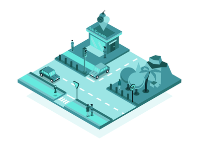 Isometric City Streets signs traffic 3d building city map illustration isometric