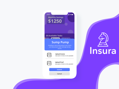 Insura Modal ui purple card view finance application finance hackathon clean ui modal ui modal gameification insurance app insura