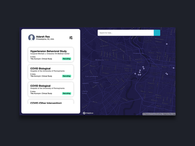 Clinic Connect Dashboard hack the north clean dashboard clean dark blue navy blue navy philedelphia clinicaltrial navigation mapbox map clinic connect dashboard clinic connect dashboard connect clinic hackathon