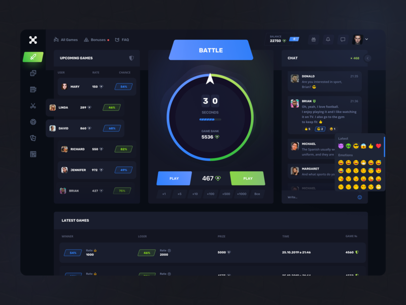 Roulette Gaming: Battle page web design ux ui typography trending ticket team statistics service product design interface interaction game design gambling finance dashboard dark ui casino bets bet