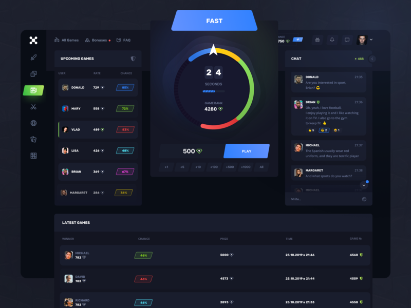 Roulette Gaming: Fast game tabs bet dark ui entertainment dashboard finance gambling game design interaction interface product design service statistics team ticket trending typography ux ui web design