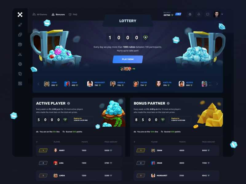 Roulette Gaming: Bonuses apps illustration ux ui team statistics interface interaction lottery player service web design product design game design gambling finance dashboard entertainment dark tabs