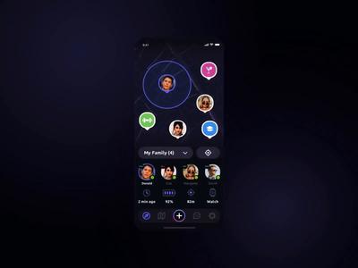 Navigram: GPS Tracker App particles motion creative ui social mobile interaction card animation account transport statistics interface trip maps today status dashboard dark app alarm