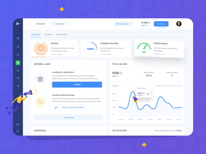 Surfe: Dashboard social layout shop redesign creative landing mobile investment platform colorful interface dashboard business finance fintech marketing filters system ux ui
