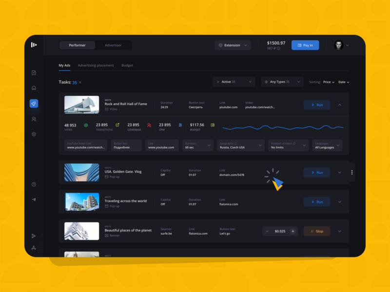 Surfe: My ads dark mode dark shop redesign creative landing mobile investment platform colorful interface dashboard business finance fintech marketing filters system ui ux