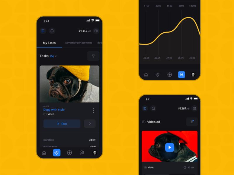 Surfe: Tasks & Ads dark mode dark app shop redesign creative landing mobile investment platform colorful interface dashboard business finance fintech marketing filters system ui ux