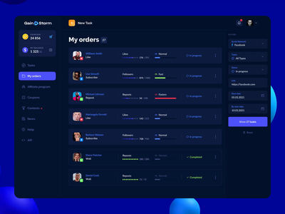 GAINSTORM® — Interface Animation 2 interaction ux ui dashboard crm dark theme dark app marketplace dark ui payments 3d animation animation platform gambling game design crypto business redesign mobile app product design