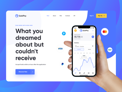 QubiPay — Landing Page Redesign payment app web design dashboard investment platform mobile app bank app banking financial payments banking app product page business ux ui interaction financial website fintech landing landing page finance