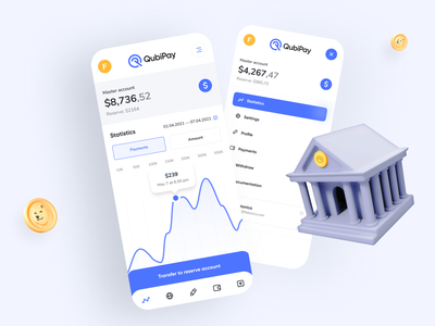 QubiPay — Mobile App app design crypto wallet financial website bank card business fintech fintech app banking app payments financial banking bank app platform mobile app design investment web design payment app redesign ux ui