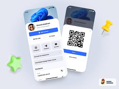 Brainy Cards: Mobile Business Card shot blue creative map mobile ui app design layout profile dashboard card ui product design social platform colorful system ui ux business mobile app interface
