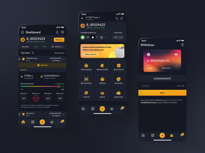 CryptoTab Farm Redesign bank dark mode swap exchange dark theme product design coin bitcoin nft interface ecommerce mobile app app layout cryptocurrency finance blockchain dashboard wallet crypto