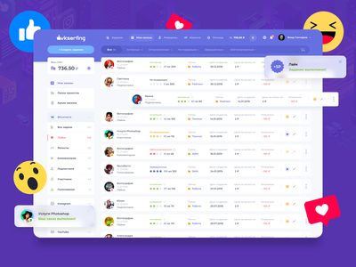 VK Serfing Redesign: My campaigns 👨🏻💻 order social activity media dashboard money interface blocks design task management android redesign space layout finance app ui ux crm