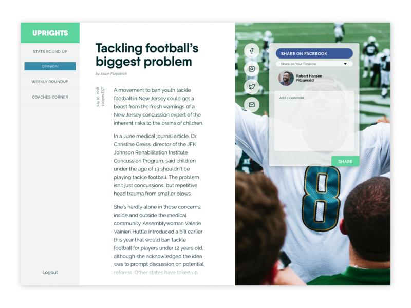 Daily UI - Day 10 - Social Share social share football sports design digital design ux ui daily ui
