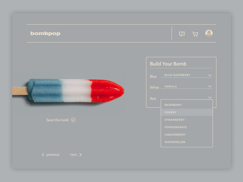 Daily Ui - Day 33 - Customization customization popsicle bombpop ui ux daily ui design digital design