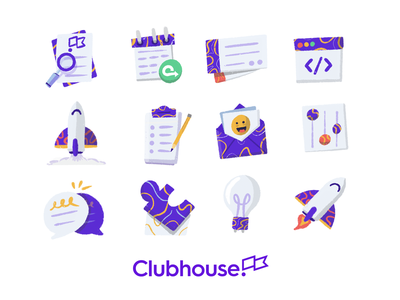 Style Exploration illustration file contact rocket clubhouse purple iconography icons procreate sketchy