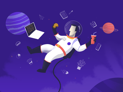 Remote Life procreate laptop stars planet astronaut spaceman office working remote space
