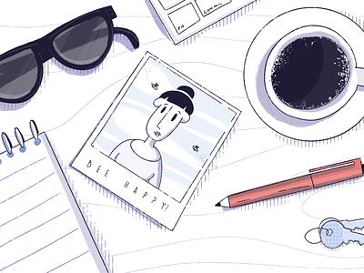 The desk desktop procreate black and white sunglasses desk