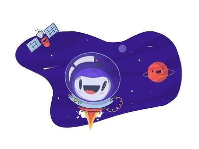 Dots World clubhouse mascot cartoon catapult rocket pinball space chracter dot