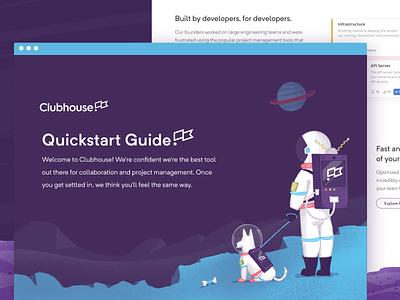 Quickstart Guide astronaut space space dog spaceman branding onboarding quickstart