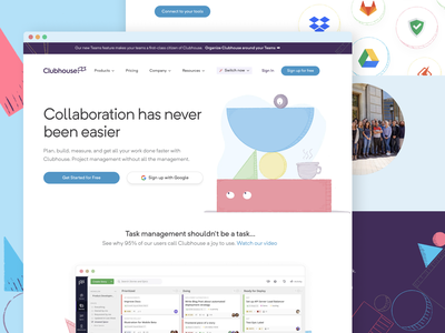 Clubhouse Homepage Rebrand illustration branding shapes eyes homepage brand