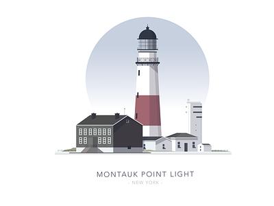 Montauk Point Light illustration architecture world house building lighthouse