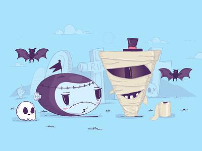 Happy Halloween 👻 graveyard grave bat holidays scare skull scary mummy zombie halloween