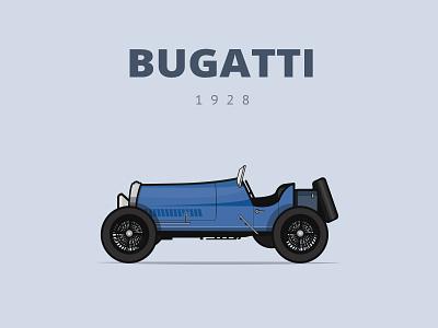 Bugatti car illustration retro dublin ireland transport bugatti