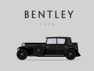 Bentley car illustration retro dublin ireland transport bentley