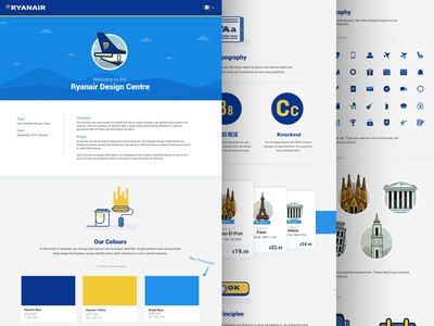 Ryanair Design Centre Case Study iconography icons colour style styleguide plane fly holiday travel ryanair centre design