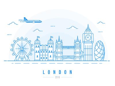 London Calling.... bridge wheel big ben airplane airport fly england skyline illustration london