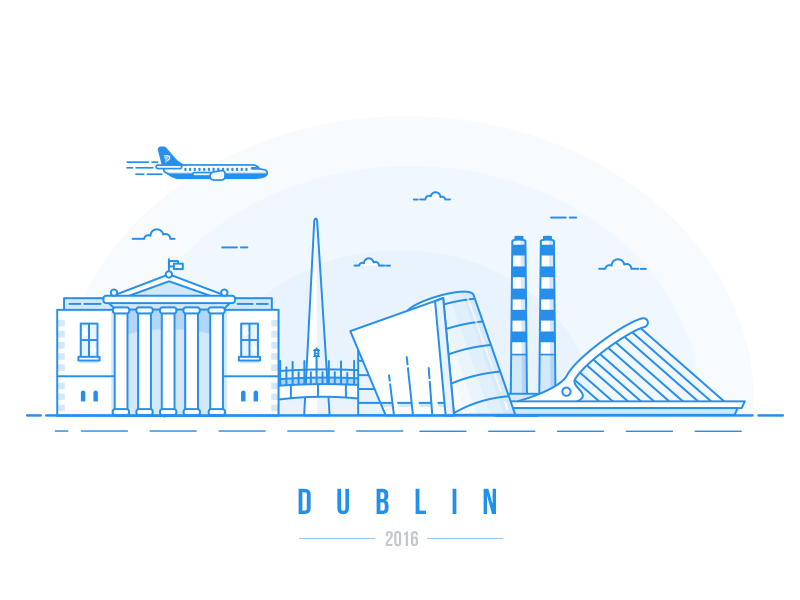 Dublin Calling... eire halfpenny bridge bridge airplane airport fly gpo skyline illustration irish ireland dublin