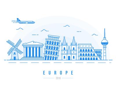Europe Calling... european landmark line amsterdam pisa berlin rome paris london dublin europe