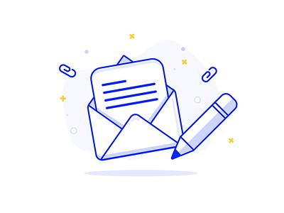 Newsletter sign up pencil paper envelope newsletter letter signup