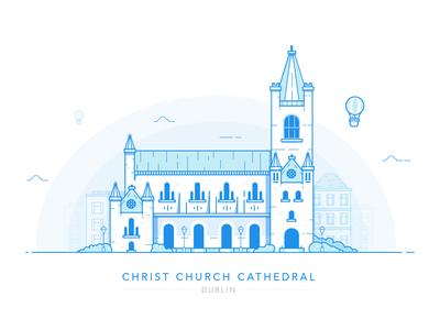 Christ Church Cathedral - Dublin architecture church illustration blue cityscape landmark custom house city eire ireland dublin