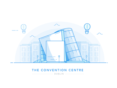 The Convention Centre architecture illustration blue cityscape landmark custom house city eire ireland dublin